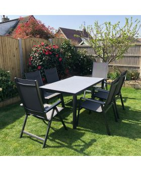 MWH Elements 6 Seater Rectangular Garden Set Anthracite