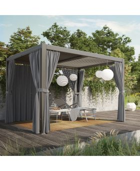 MWH Curtano Aluminium Slatted Roof Gazebo 3x3m Mat Grey *Pre order available 30.05.21