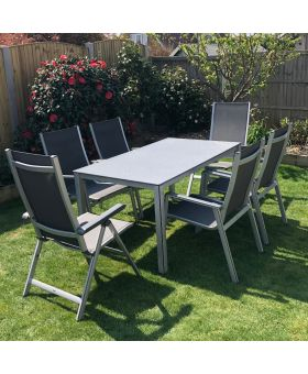 MWH Elements 6 Seater Rectangular Garden Set Silver