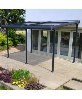 Royal Garden Aluminium Wall Gazebo Retract Roof 4x3m
